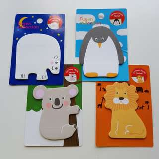 4 in 1 set sticky animals note pad post it