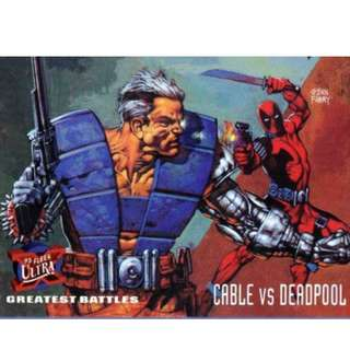 1995 Marvel Fleer Ultra Base Card #127 - Cable vs. Deadpool