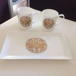 Two beautiful mugs and plate from Myer