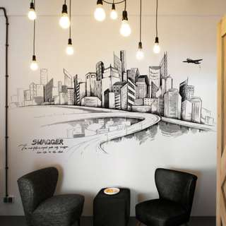 City Hand Painting Wall Sticker