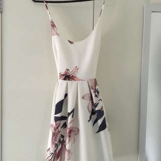 White Floral Dress Size 8