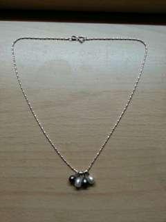 全新 意大利 925 純銀 珍珠 頸鍊