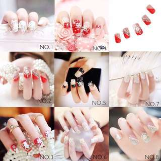 PO 2 minggu 24pcs of 12 size 3D full cover artificial fake nail art