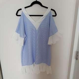 Dress flare garis putih biru