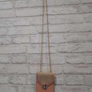 Hand phone shoulder metalic sling pouch