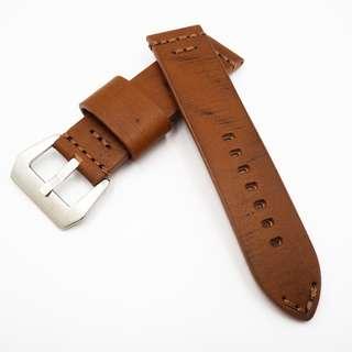 (2433) 全新 24mm 人手拉線暗橙色懷舊牛皮通用錶帶配精鋼針扣 合適 Panerai, Seiko, Bell & Ross, Tudor 等等