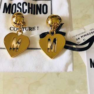 Moschino Gold Clip On Earrings