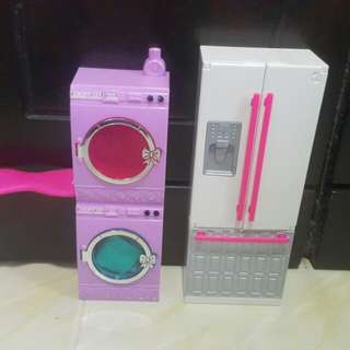 Barbie Fridge, Washer & Dryer