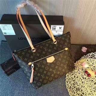 LV女包 新款42267牛皮單肩包 手提包 LV時尚商務女包 休閒購物包 大容量媽咪購物袋 LV購物包