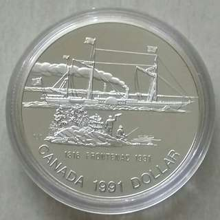 """Canada 1991 Dollar Ship,""""Frontenac"""" Proof Silver Coin Complete With Box And COA."""