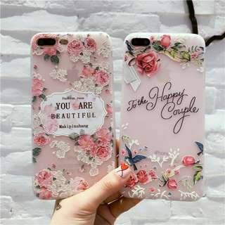 Floral Pink soft case for iphone 5 to 8+