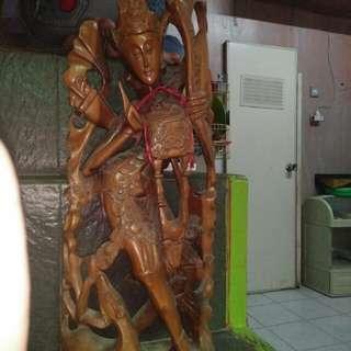 Patung penari bali bahan jati