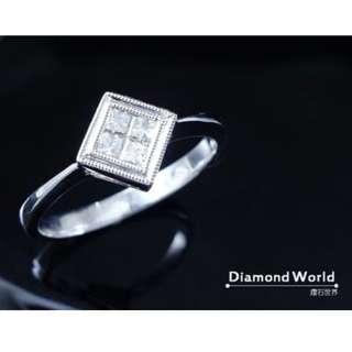 【D-W 香港鑽石世界】《公主方鑽》全新18K白金 18份 簡約時尚微鑲鑽戒 --- 001015-48