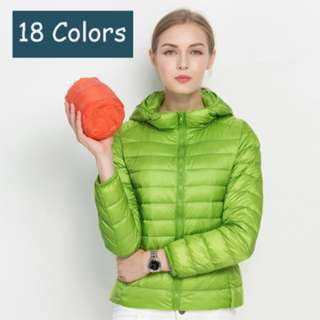 Pre-Order: Women Ultra Light Foldable 90/10 White Duck Down Winter Jacket with Hood and Zipper Front Closure Slim Solid Plain