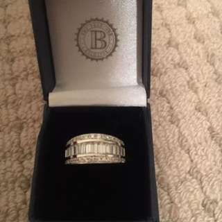 Silver Bradford Exchange Diamonesk Ring over 3 carats with authenticity certificate