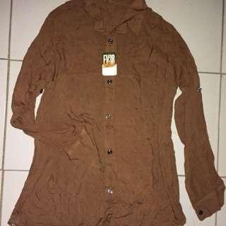 Kemeja polos nude brown coklat katun adem kuliah kerja casual new sale diskon cuci gudang atasan baju murah reprice