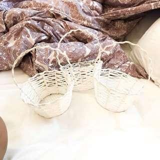 White Flower Girl Baskets