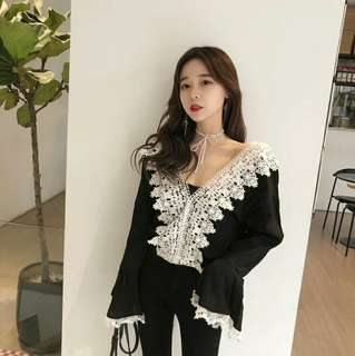 Black and white lace long sleeve top