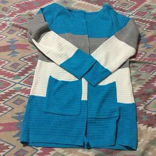 White and blue cardigan