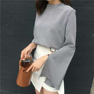 Long sleeve Chekered top