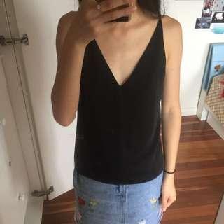 State of Being minkpink Black low v neck cami top