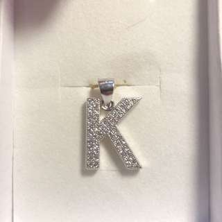 Sterling Silver with Cubic Zirconias letter K