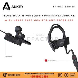 Aukey EP-B30 Bluetooth Wireless Sports Headphone With Heart Rate Monitor and Sport App