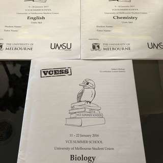 VCESS - English, Chem & Bio Summer School Lecture Notes