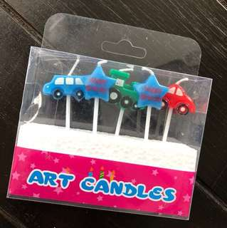 New Car Train Star Birthday Candles Cake Topper