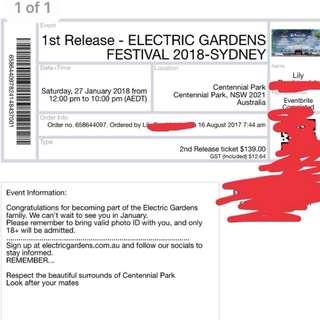ELECTRIC GARDENS MUSIC FESTIVAL TICKET