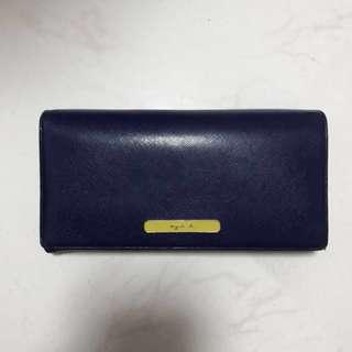 鮮藍色&螢光黃,Agnes B長款銀包