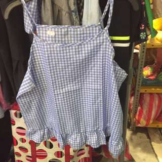 Checkered spaghetti blouse