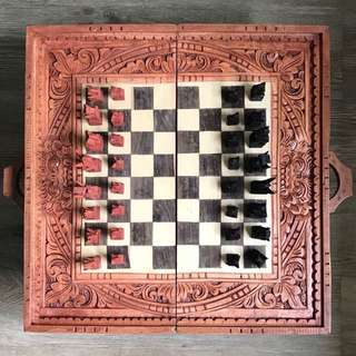 Balinese hand carved timber Chess set