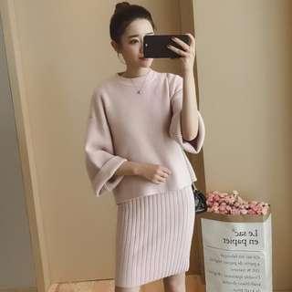 ◇悠莎◇ 新品純色毛衣+連衣包臀針織裙 兩件式套裝 557096693110180113
