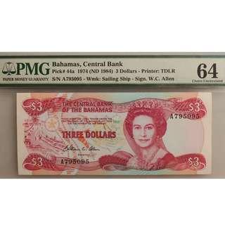 Bahamas $3 PMG64 Choice UNC