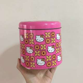 Hello Kitty Tissue Roll Holder Tin Can