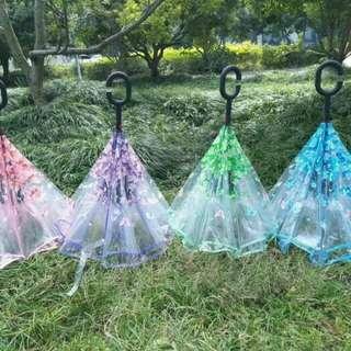 Payung kebalik gagang C transparan