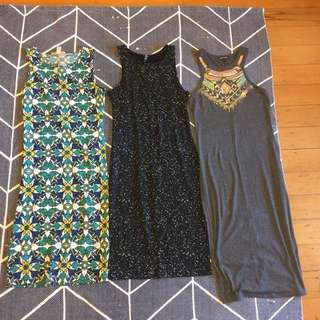 Lot of cotton midi dresses - mosaic, sequined, summer basics Sz M or 10