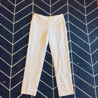High waisted white lace cigarette pants Sz 10
