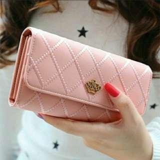 Pink Metal heart wallet