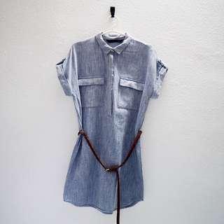 Zara Faux Denim Boyfriend Dress with belt