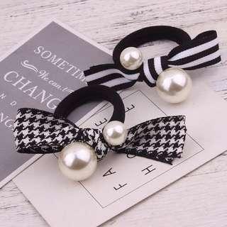 秋冬新款韓國黑白條紋格子珍珠粗皮筋頭繩蝴蝶結髮圈