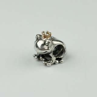 Pandora frog gold with silver charm
