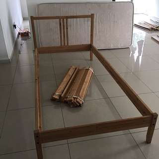 Ikea single bed with mattress - free clothes storage