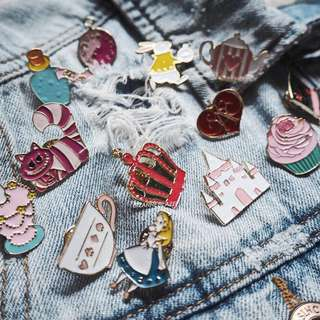 Alice in wonderland enamel pin