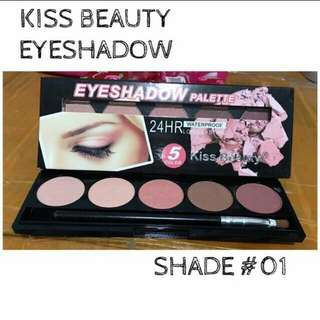 Kiss Beauty 24 Hour Waterproof & Long-lasting Eyeshadow Palette With Brush