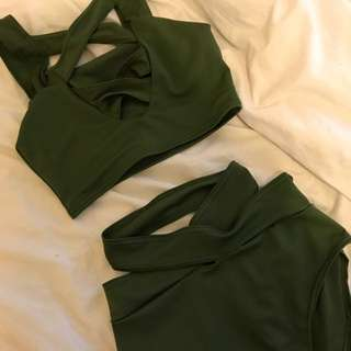 Criss cross khaki bathers set