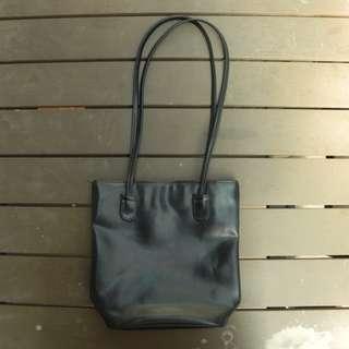 Black tote handbag