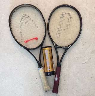 2 Tennis rackets and tennis balls