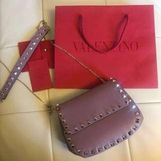 Brand new Valentino purple studded round chain bag
